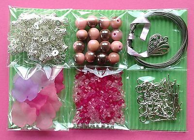 Jewellery Making Kit 6 Bags Craft Bead Findings Jewelry Pink - Aussie Seller!!!