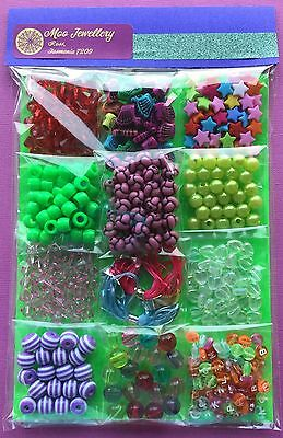 Kids Craft Acrylic Bead Kit Beads Jewellery Making Bulk Mixed - Aussie Seller!