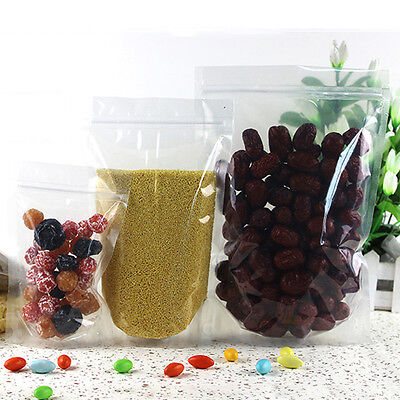 Clear Plastic Self seal ziplock Stand Up bag food storage Pouch Resealable 50pcs