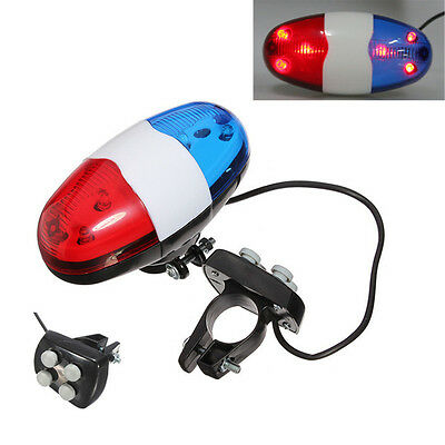 Bike Bicycle Cycling 4 Sounds 6 LED Police Car Siren Electric Lights Horn Bells
