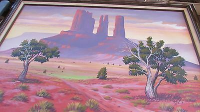 Beautiful Large Oil Painting By Navajo Artist Guy Nez Jr. Cathedral Rock, Sedona