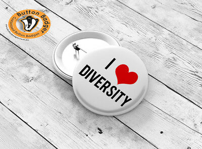 44mm I Love Diversity Button Badge - BRAND NEW