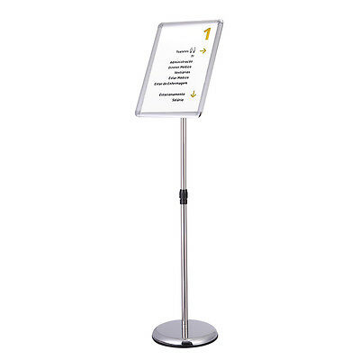 A3 Adjustable Pedestal Sign Holder Floor Stand Telescoping Post Poster Silver