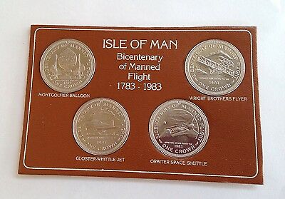 ISLE OF MAN Bicentenary Of Manned Flight 1783-1983 Set Of 4 Crowns