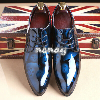 Mens Pointy Toe Dress Wedding Shoes Lace Up Oxfords Floral Formal Shoes Business