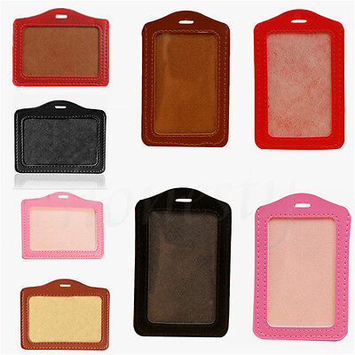 2/5pcs PU Leather Business Badge Name Tag ID Clear Card Holder Pocket Pouch Case