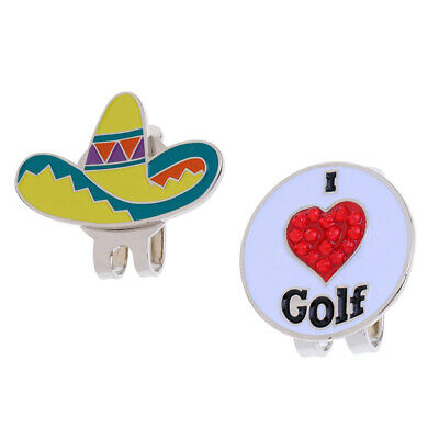 2 Pieces Alloy Golf Ball Marker Hat Clip Magnetic Cap Clip