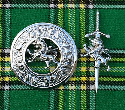SCOTTISH HIGHLAND KILT FLY PLAID BROOCH LION RAMPANT 3''/KILT PIN 4''/Brooch Pin
