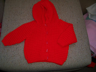 New Hand  Knitted Hooded Cardigan Red 18 -24 M0Nths Approx
