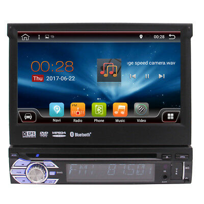 "Single 1DIN 7"" Android 6.0 Quad-Core Car DVD Player Stereo Navi GPS WiFi 3G BT"