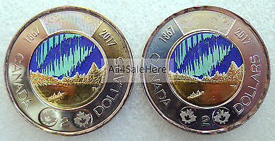 2017 Canada 150 Special Edition $2 Dollars Glow-in-the-Dark Coins Type A + B Set