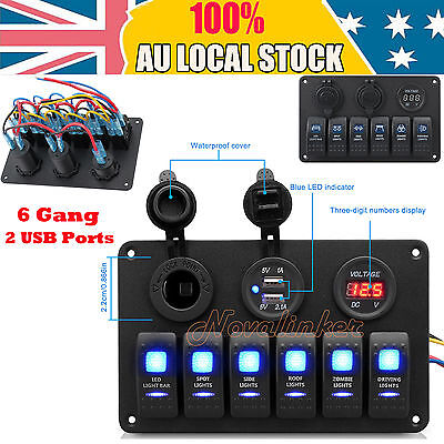 12V 6 Gang LED Rocker Switch Panel Circuit Breakers Charger USB For Boat Marine