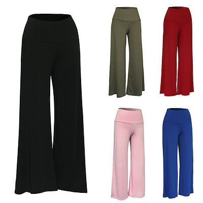 USA Women Palazzo Wide Leg High Waist Loose Casual Long Pants Trousers Plus Size