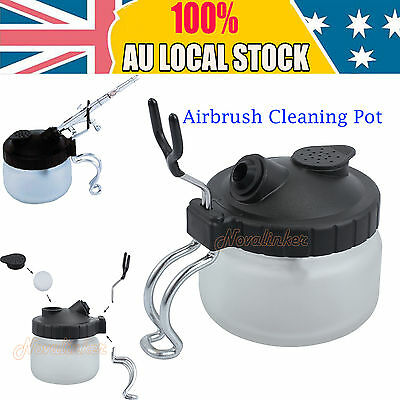 Airbrush Cleaner Air Brush Clean Pot Jar Cleaning Station Glass Bottles Holder