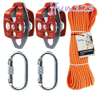 32kN Pulley System Double Braided 11.5mm Rope for Lowering Caving Rigging Dragg