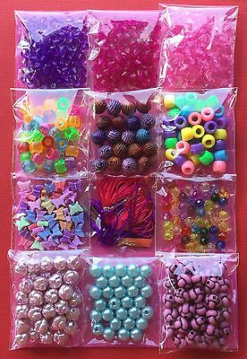 Kids Craft Bead Kit Over 500 Beads Jewellery Making Bulk Gift - Aussie Seller!