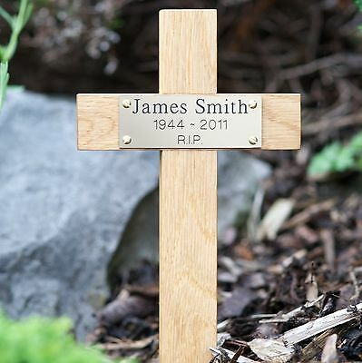 "12"" Tall Wooden Memorial Cross Engraved Plaque Grave Ashes Cremation Marker pet"