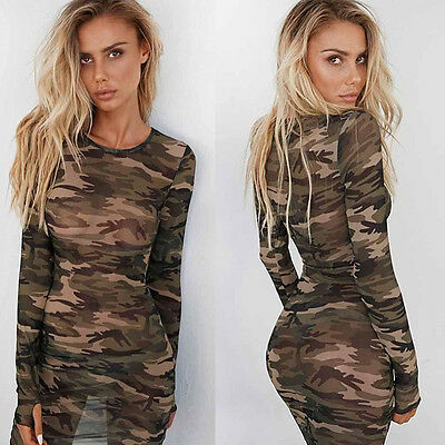 New Womens Sexy Camouflage Bodycon Evening Cocktail Party Mesh Short Mini Dress