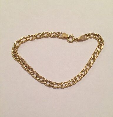 9ct 375 Yellow Gold Bracelet 2.14G Double Link