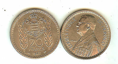 2 BELLES PIECES DE 20 Francs LOUIS II DE MONACO 1947 TTB