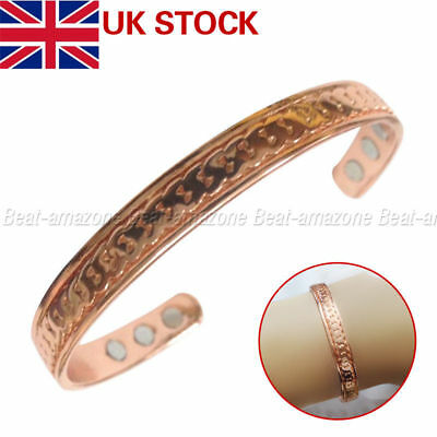 Women's Copper Magnetic Bracelet For Healing Therapy Arthritis Relief Plain Uk