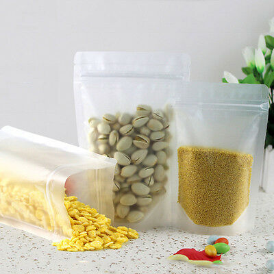 Clear Plastic Matte Zip Lock Self seal stand UP Packaging Food Bags Resealable