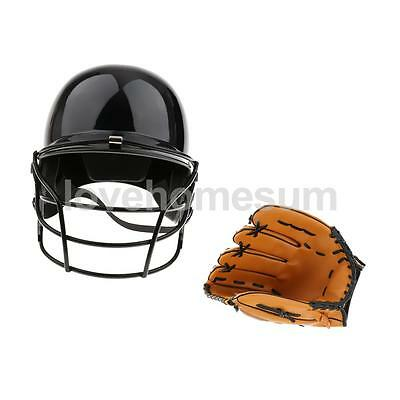 "New Durable Batting Helmet with Face Mask + 10.5"" Left Hand Baseball Glove"