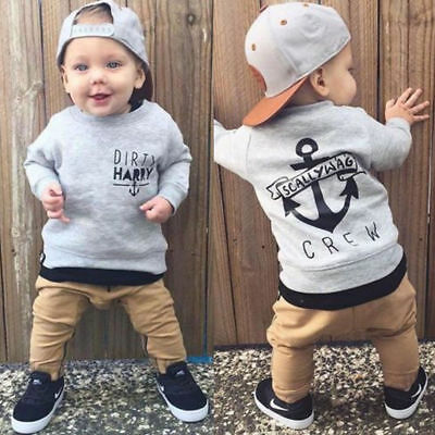 Cute Toddler Baby Boys Kids Shirt Tops+ Long Pants Clothes Outfits Gentleman NEW