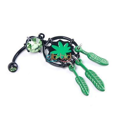 New Fashion Marijuana Leaf Dream Catcher Dangle Navel Belly Ring Weed Piercing