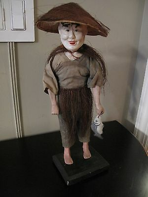 ANTIQUE CHINESE OPERA DOLL FISHERMAN w Fish Figure Statue with Wooden Stand