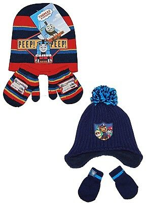 Boys Paw Patrol Thomas the Tank Hat & Mittens Newborn to 4 Years