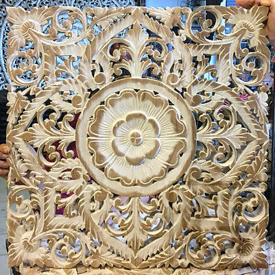 "23.5"" White Lotus Flower Teak Wood Hand Carved Home Decor Wall Panel Art 2 gtahy"