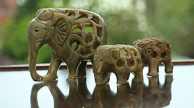Elephant & babies & elephants in bellies, bit like puzzle ball Soap stone carved