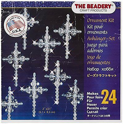 Beadery Plastic Holiday Beaded Ornament Kit Crystal Crosses 2-inch Makes 24
