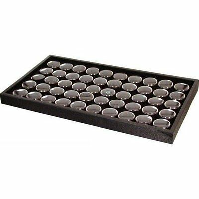 50 Black Gem & Coin Jars Stackable Display Travel Tray.