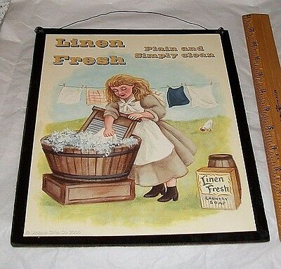 Vintage Inspired LINEN FRESH Laundry Soap Washboard Ad Print Plaque Wire Hanger
