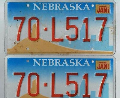 2002 & Before Nebraska License Plate Pair 70-L517  USED