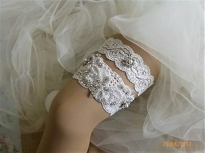 Bridal Wedding Toss Garter Set Ivory Stretch Lace Pearl Crystal Vintage Gift