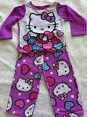 Hello Kitty 2 Piece Fleece Pjs Pajamas Purple  Flame Resistant 3T