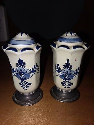 Vintage Delft salt and pepper shakers with silver plate bottoms