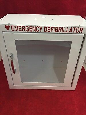 """AED Emergency Medical Defib Cabinet Steel Wall Mount White 13.5x13x7"""" Good Cond."""
