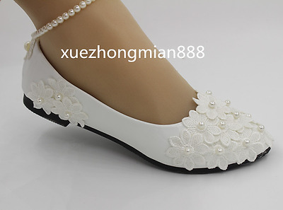 White lace Wedding shoes pearls ankle trap Bridal flats low high heels size4-9.5