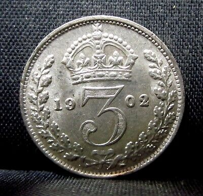 1902 Great Britain 3 Pence ✪ Bu Uncirculated ✪ England Silver L@@k ◢Trusted◣