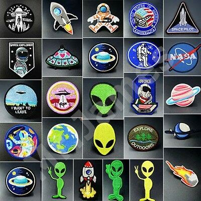 Embroidered UFO Alien IronOn Patches Badge Bag Jeans Fabric Clothes Applique
