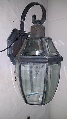 Vintage Copper And Beveled Glass Wall Mount Outdoor Porch Lamp Light