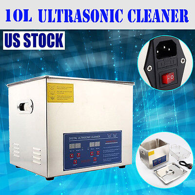 10 L Liter Industry Heated Ultrasonic Cleaner Heater w/Timer Widely Used