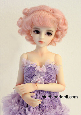"""1/6 or 1/4 bjd 6-7"""" doll wig pink color curly real mohair W-JD250S dollfie Lati"""