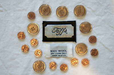 Set of 18 Toff's Spare Replacement Buttons for Tan/Beige Trench Coat / Jacket