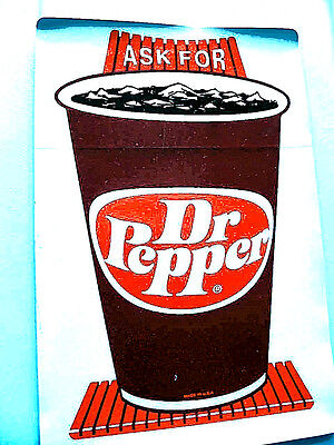 """Vintage Dr Pepper Fountain Drink Advertising Sticker, 9""""x6"""" - Early 1980's - NOS"""