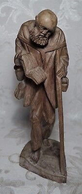 """Vintage Hand Carved Wood Hobo Bum Tramp Figurine Statue 8.5""""  Ragged Clothes"""